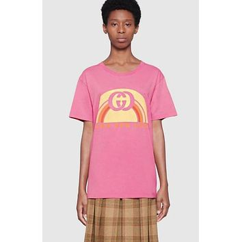 GUCCI Newest Trending Women Men Stylish Double G Print Round Collar T-Shirt Top Pink
