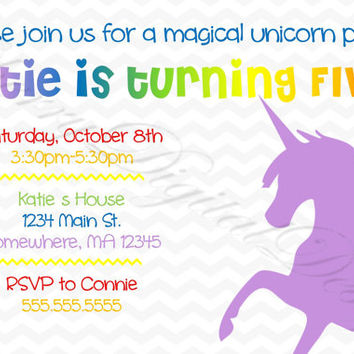 Printable Unicorn Birthday Invitation. Girl's Unicorn Invitation.  Rainbow & Purple Invitation.  Birthday.  Printable Invitations. PDF.
