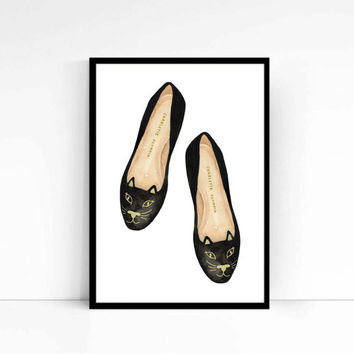 "Watercolor Fashion Illustration ""Here Kitty"" Giclee Art Print Home Decor Wall Art"