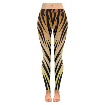 Tiger Patterned Low Rise Leggings (Invisible Stitch) (Model L05)