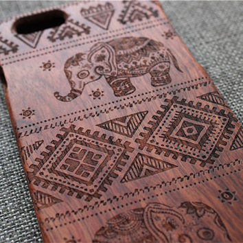 Elephant custom iphone 6 case, iphone 6 case wood, wood iphone 6 case,iphone 6 cover, rosewood-iphone 6 case