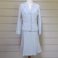 Light Blue Skirt Suit, Worthington Works Stretch Separates, Size 6