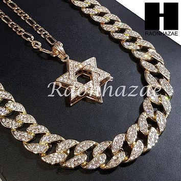 "New 14k Gold PT Star of David Pendant 15mm Iced Out Miami Cuban 30"" Necklace 196"