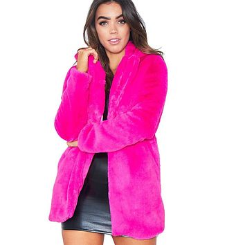 Solid Color Lapel Loose Faux Fur Women Teddy Coat