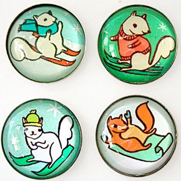 Skiing Squirrels Magnet Set
