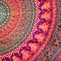 Mandala Blanket - Purple and Orange Elephants