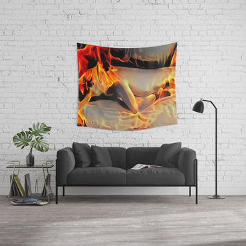 Flames in bedroom - erotic photography rework, sexy slave girl in submissive pose, BDSM cuffs on leg Wall Tapestry by Casemiro Arts - Peter Reiss