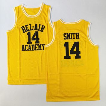 Will Smith #14 Bel-Air Academy Basketball Jersey Fresh Prince Stitched Yellow