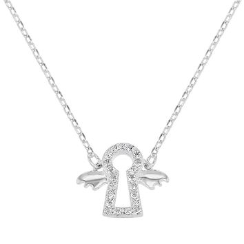 """925 Sterling Silver Clear CZ Guardian Angel Necklace Baby Kids 16"""""""