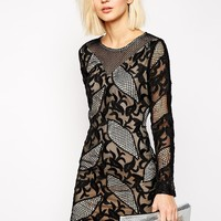 Goldie Masquarade Allover Embroidered Bodycon Dress at asos.com