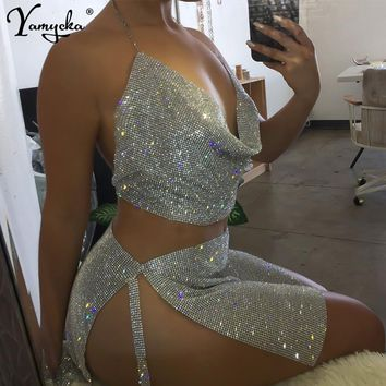 Sexy Gold Silver Metal Crystal Diamonds Summer Dress Women  Backless Cut Rhinestone Glitter Night club Two Pieces Sequin Dresses
