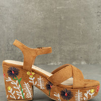 Coconuts Fresh Tan Suede Embroidered Platform Sandals