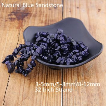 Chips Natural Blue Sandstone Beads Gemstone Beads Chips Stone For Bracelet Jewelry Making (size 3-5/5-8/8-12 mm) 32 Inch Strand