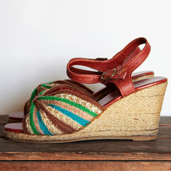 SALE  Vintage Cute Colorful Wedge Shoes 7 Espadrilles 70s - 80s Perfect for Summer Was 49