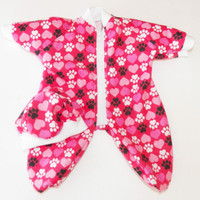 """Clothes Pink Red Heart Pajamas Sleeper Hat Handmade For Bitty Baby Girl Doll 15"""""""