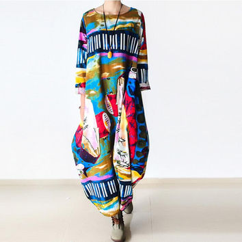Johnature 2016 New Print Women Maxi Dress Cotton Linen Long Sleeve Robe O-Neck Loose Plus Size Long Autumn Clothing Dress