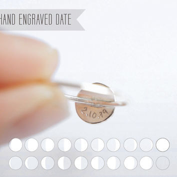 UNDER THIS MOON / Ring - Personalized lunar phase charm of your graduation night in sterling silver, dainty, delicate, customized ring