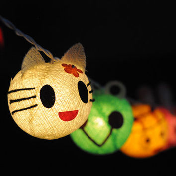 20 x cartoon animal kitty frog bear bee lantern light cotton ball handmade multi color kid child girl room decor hanging light