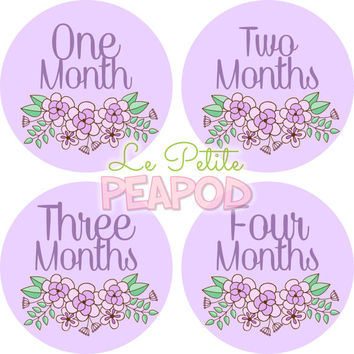 Monthy Baby Shirt Stickers - Purple Floral Shabby Chic Design - Girl Monthly Baby Stickers
