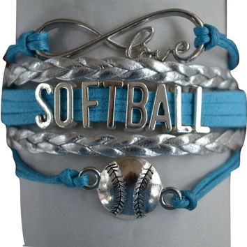 Infinity Collection Softball Blue Charms Bracelet
