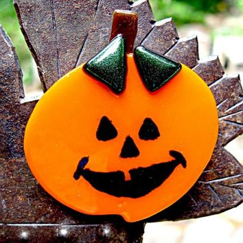 Halloween Pumpkin Fused Glass Magnet