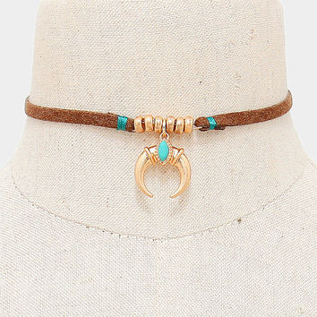 Brown Suede Leather Gold Double Horn Charm Beaded Choker Necklace