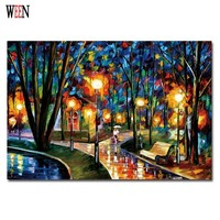 Walking In The Quiet Street Wall Art Pictures Of Abstract Paintings Canvas Art Print Poster Cuadros Decoracion Christmas Gift
