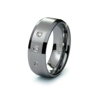Logan's Beveled Edge Triple CZ Tungsten Wedding Band - Final Sale