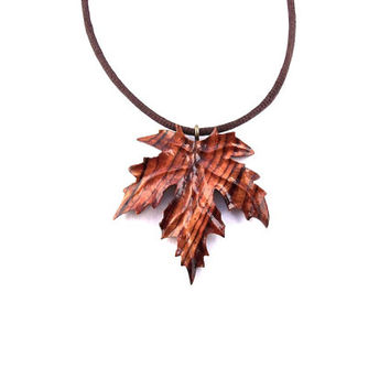 Wood Jewelry, Wooden Leaf Pendant, Hand Carved Pendant, Wooden Leaf Necklace, Wooden Maple Leaf, Wood Carved Pendant, Wooden Pendant Leaf