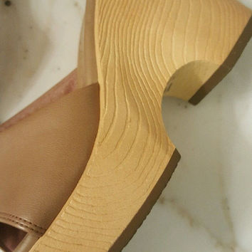 90's Fioni Beige Brown Wedges Hardly Used