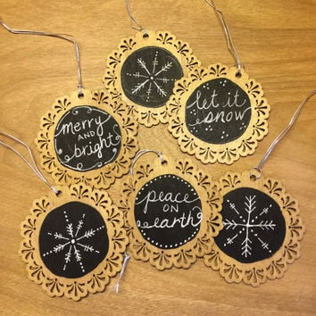 Wood Christmas Gift Tag / Birch Wood Rounds / Rustic Christmas Ornament / Holiday gift tag / Holiday Ornaments / Handpainted / hand lettered