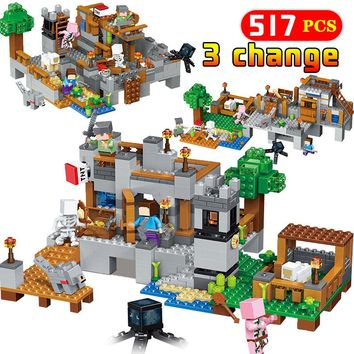 517 Pcs Legoingly Minecraft Harbor Wharf My World House Model Building Blocks Bricks Zombie Mini Sets Figures Toys For Kids Gift