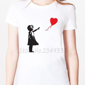 Banksy Girl With Balloon Print Women tshirt Modal Casual Loose Funny t shirts For Lady Top Tee Drop Ship SH-17