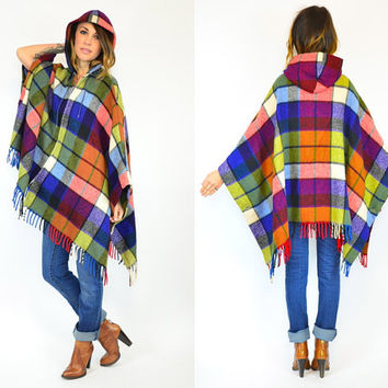 colorful PLAID striped HOODED midweight wool FRINGED poncho cape, one size fits all
