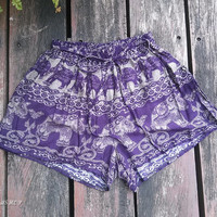 Dark Purple Summer Beach Elephants Print Shorts Pants Exotic Clothing Aztec Ethnic Boho Tribal Ikat Boxers Cotton Cute Women Girl Plus Size