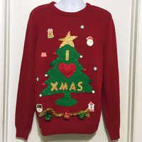 Ugly Christmas Sweater, Grinch Sweater, Christmas Sweater, Christmas Tree, Ugly Sweater Party, Medium, Red Sweater, Item #13