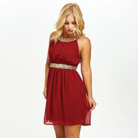 Queen Of The Party Sequin Dress In Burgundy