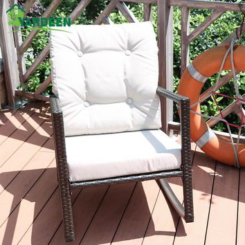 Yardeen Rocking Rattan Garden Chair Outdoor Patio Yard Furniture Wicker Chair with Cushion