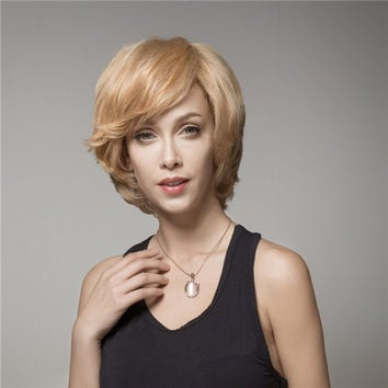 Elegant Short Wave Human Hair Wig Virgin Mono Top Remy Side Bang Capless 8 Colors
