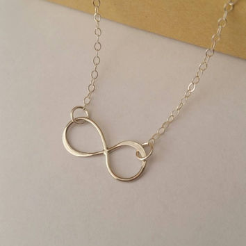 Infinity necklace, Sterling silver infinity necklace, Infinity initial necklace, Personalized infinity necklace, Bridesmaid necklaces