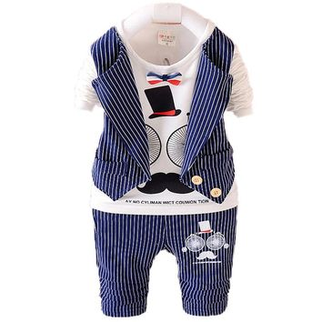2016 New Spring Baby Boys Clothing Sets Kids Clothes Sets Toddler Boys Clothing Baby Boy Clothes Gentleman Suit Striped