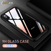CASEIER Tempered Glass Phone Case For iPhone 7 8 Cases 0.55MM Protective Glass Cover For iPhone 6 6s Plus X Capinha Accessories