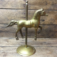 "Vintage Carousel Horse Brass 8.5"" H on Stand b"