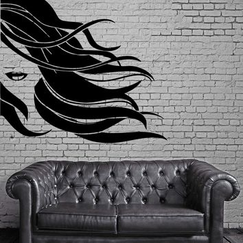 Sexy Girl Wind Flowing Hair Full Lips Wall Art Mural Vinyl Decal Sticker Unique Gift M616