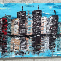 Abstract Painting Urban City Textured Original Art On Canvas Cityscape Skyscapers art Made to order by Jills fine art 22x46x3/4