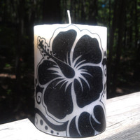 "Decorative Candle Tropical Design Image Decor 4"" Scented Hibiscus Printed Pillar Candle"