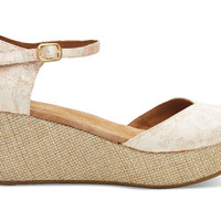 TOMS Floral Jacquard Women's Platform Wedges Natural