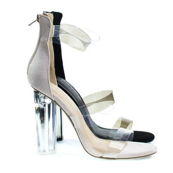 Mono10 Perspex Round Block Heel Sandal w Clear Triple Strap. Transparence Lucite