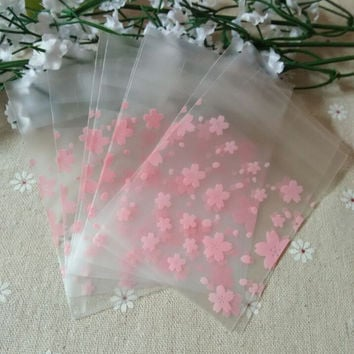 100pcs OPP Pink Cherry Flower Christmas Gift Frosted Bag Wedding Decoration for Cookie and Candy Plastic Packaging bag BZ004