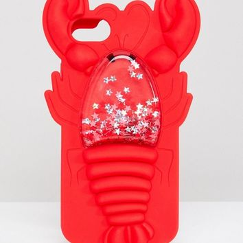 Skinnydip Red Lobster Squeezy Glitter Silicon iPhone Case 6/7/8/s at asos.com